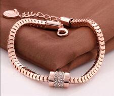 18K Rose Gold Plated Crystal Rhinestone Snake Chain Bracelet Bangle Jewelry