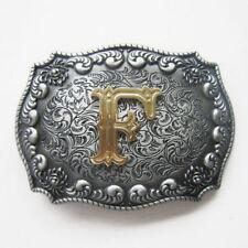 "Initial Letter ""F"" Cowboy Rodeo Western Metal Belt Buckle"
