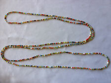 "Rainbow Seed Bead Long 56"" Necklace Bracelet Chain Hippy Love Beach Festive"