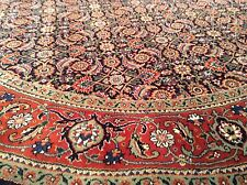 6 x 6 Round Persian Oriental Area Rug  Hand Knotted Wool Black Rust Geometric