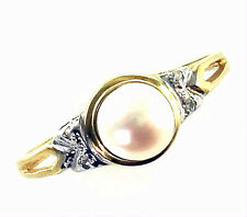 Fine Estate Pearl Diamond 10K Yellow White Gold Vintage Jewelry Ring 6 3/4 UK N