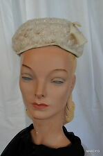Chic Vintage 50's 60's Valerie Modes Cream Color Loopy Nylon Pillbox Hat 1 Size