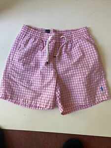 Mens Polo Ralph Lauren Designer Pink Check Shorts Swimwear Medium Vgc