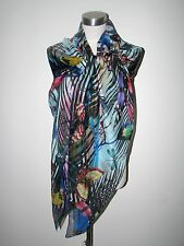 NWT AUTHEN CHRISTIAN LACROIX 100% silk 52X52 TROPICAL INSECTS SCARF/SHAWL Italy