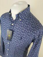 Nwt Mens Ralph Lauren Floral Shirt Blue Medium Slim Fit 40 Chest Stunning