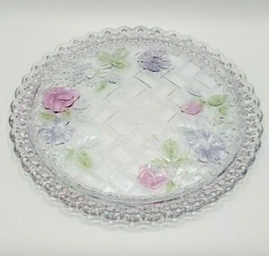 "13"" Vintage Serving Platter Thick Glass Pink Roses Scalloped Edging-BEAUTIFUL!"