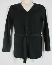 August Silk Black Knit Belted  V Neck Button Up Cardigan Sweater Large