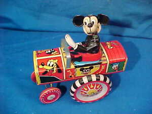 1950s LINEMAR MARX Tin Litho MICKEY MOUSE + His JALOPY Wind Up TOY CAR