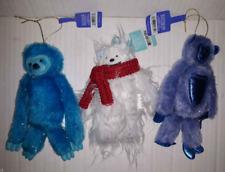 "Lot 3 Furry Fuzzy Sloth Gorilla/Monkey & Yeti Abominable Snowman Ornament New 6"""