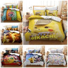 Pikachu Kids Bedding Set Duvet Cover Pillowcases Quilt Comforter Cover Gift 3PCS