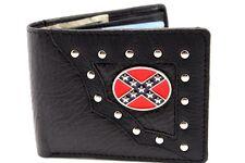 Men's Leather Black Bi-fold Western Con Feg Rate Cowboy Wallet Center Flips ID