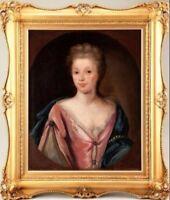 Large 18thc Antique Oil Portrait Painting Of Lady Circle Michael Dahl 1659-1743