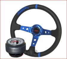 Mustang  Jdmsport Deep Dish 350Mm Racing Steering Wheel+ Hub Adapter Blue/Black