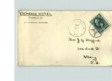 FRANKLIN, Pennsylvania, with FANCY STAR CANCEL, Exchange Hotel return address