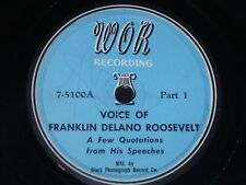 USA 78 rpm RECORD Clark Phono PRESIDENT FRANKLIN DELANO ROOSEVELT Speeches RARE