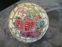 LARGE ROUND STAINED GLASS DECORATIVE BALL FLOWERS FRUIT VEGETABLES