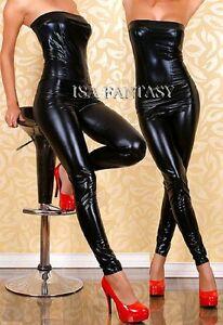 UK Wetlook women Faux leather lingerie nightwear bodysuit clubbing hen 8 10 12