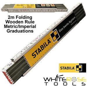 Stabila Wooden Folding Rule 2m White Beech Ruler Surveyors Rod Metric Imperial