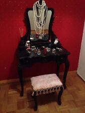 Frisierkommode Antik Nachbau Schwarz Vintage Spiegel 5 Schubladen Mit Hocker