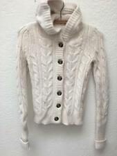 Abercrombie & Fitch Button Front Cable Knit Hooded Sweater Cashmere Blend sz M