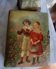 Antique Victorian Celluloid Photo Album w/Music Box Cabinet Cards Brass Clasp