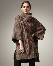 NEW $995 M MISSONI WOMENS CHUNKY MERINO WOOL ZIGZAG SWEATER PONCHO ITALY L