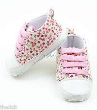 Pink Canvas Toddler Baby Girl Soft Sole Crib Shoe Sneakers Newborn baby 0-9 Mons
