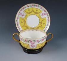Antique Ahrenfeldt Limoges Porcelain French Bouillon Cup & Saucer Pink Rose