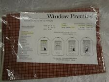 """Country tan maroon check plaid cotton insert valance 44 x 12 """" USA New"""