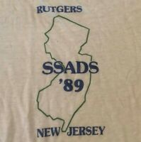 vintage 80s Rutgers University 1989 NCAA College Ringer tee t-shirt Size Large