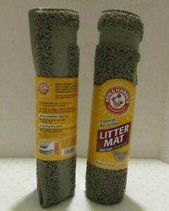 Lot of 2 Arm & Hammer Gray Cat Litter Mats Half Circle Captures Litter