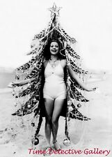 Woman in a Christmas Tree Costume at the Beach - 1940s - Vintage Photo Print