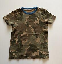 Mini Boden Boy's Camo S/S Tee Shirt Top + Bright Blue Accent Sz 7/8