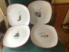 4 Fitz & Floyd Square gourmet Happy Holidays Salad Plates new in the box