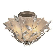 Brushed Nickel Semi Flush Mount Etched Glass Shade with Crystal Accents Light