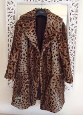 Topshop Faux Fur Leopard Print Coat, UK Size 8