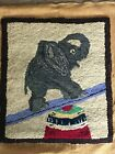 Antique Vtg Circus ELEPHANT Hand Hook Rug CHAIR SEAT Folk Art SQUARE 14 1/4 x 16