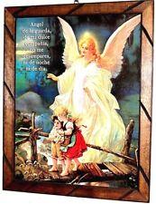 "Framed Painting/print Angel d Guarda Guardian Angel Mexico Art Wood 24"" X36"" Lg"