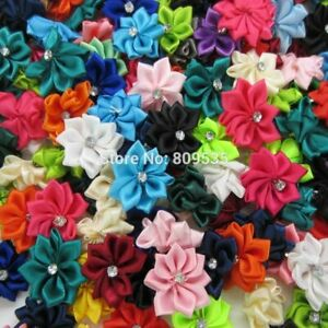 Random Mixing Small Fabric Satin Flowers White Rhinestone Flower Appliques 40Pcs