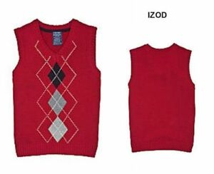 NEW Boys' Izod Red Argyle Sweater Vest Holiday Outfit Top NWT $36. Small 4