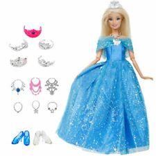 Doll Set = 1 Cinderella Dress + 13 Crown Necklace Shoes Clothes 14 Pcs/Lot Dolls