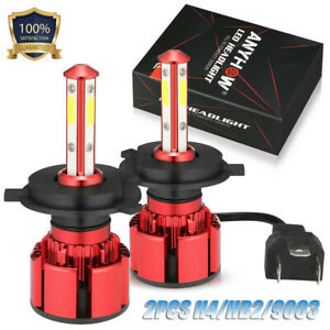 ANYHOW 130W 13000LM 4 Sides LED Headlight H4 9003 High/Low Beams 6000K Bulbs
