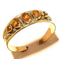 Tibetan Silver Brass Amber Cuff Bracelet Bangel Gemstone Jewelry Q55