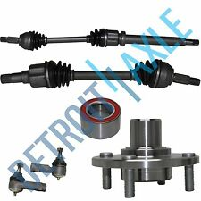 2 Front CV Axle Shafts + 2 NEW Tie Rod Ends + NEW Wheel Hub and Bearing Assembly