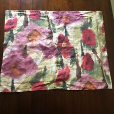 Garnet Hill Linen Euro + Standard Pillow Sham Set Brushed Floral Made in France