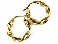 9ct Yellow Gold Heavy Twist Round Hoop Earrings 17mm 1.1g   & Box   UK Quality