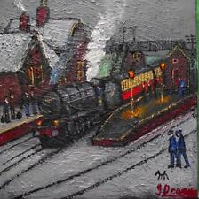 Original BEST Oil Painting Noted Artist James Downie : Northenden Station