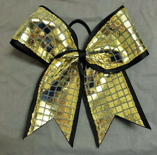 Black and Gold Disco Ribbon Bow - 3 inch wide ribbon