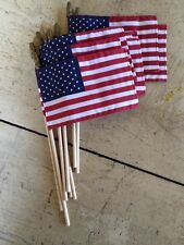 (12) 4X6 Inch USA Made QUALITY Hemmed all 4 sides STICK FLAGS