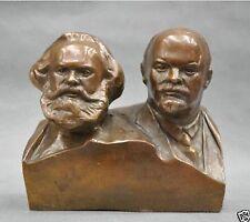 "6"" Great Communist Revolutionist thinker Marx And Lenin Bronze Statue"